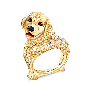 Best In Show Engraved 18K Gold-Plated Golden Retriever Ring