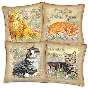 """Feline Philosophy"" Canvas Pillows With Linda Picken Cat Art"
