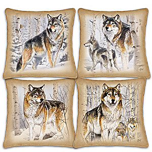 "Al Agnew ""Woodland Majesty"" Four-Piece Wolf Art Pillow Set"