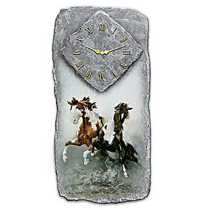 """Chuck DeHaan """"Spirit Of The Wild"""" Horse Artwork Wall Clock"""