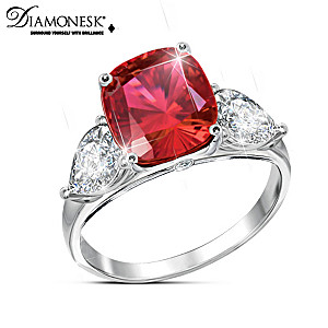 """Rare Sunrise"" Diamonesk Created Ruby Ring"