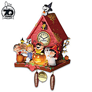 PEANUTS Halloween Party Wall Clock With Lights And Music