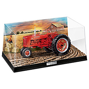Farmall Model H Tractor Sculpture With Diorama Display