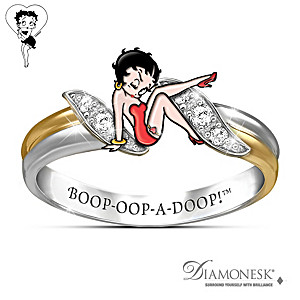 """""""Betty Boop"""" Engraved Ring With Simulated Diamonds"""