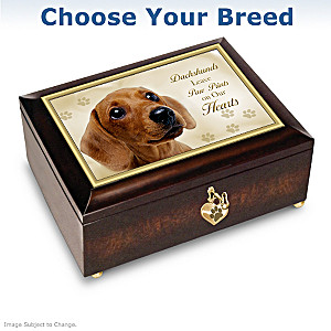 Dogs Leave Paw Prints On Our Hearts Music Box With Heart Charm