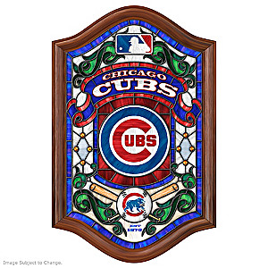 MLB-licensed Chicago Cubs Illuminated Stained Glass