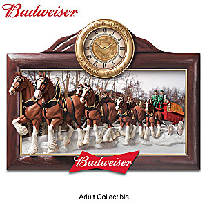 """""""Timeless Tradition"""" Budweiser Clydesdales Wall Clock"""