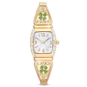 """""""Luck Of The Irish"""" Engraved Four-Leaf Clover Stretch Watch"""