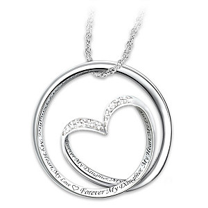 Forever in my heart diamond sterling silver pendant necklace for Father daughter cremation jewelry