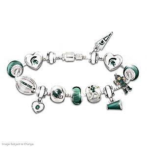 MSU Spartans Charm Bracelet With Swarovski Crystals