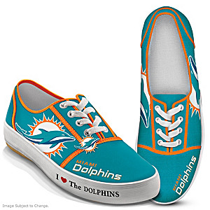 NFL-Licensed Miami Dolphins Women's Canvas Sneakers
