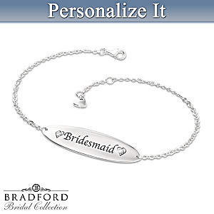 Bridal Party ID Style Personalized Diamond Bracelet