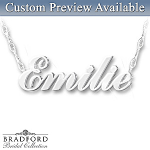 Bridal Party Sculpted Name Personalized Diamond Necklace