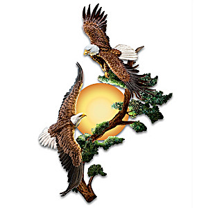 Soaring Sunrise Illuminated Wall Sconce With Sculpted Eagles