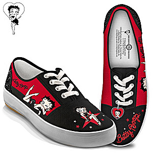 "Betty Boop ""Movie Star"" Canvas Sneakers With Heart Charm"