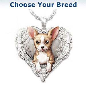 Dogs Are Angels Heart-Shaped Pendant Necklace