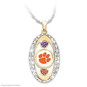 """Clemson Tigers Pride!"" Pendant Necklace With Swarovski Crystals"