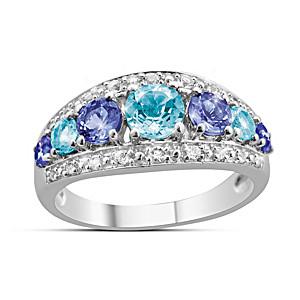 """Fantasy"" Aquamarine, Tanzanite And White Topaz Ring"