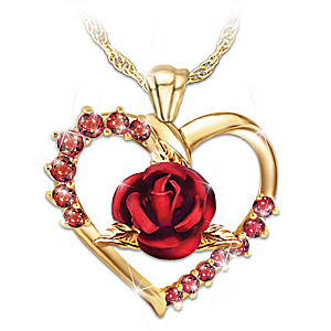 """""""Forever Yours"""" Women's Ruby Pendant Necklace"""