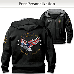 """""""Army Pride"""" Hoodie Personalized With Embroidered Name"""
