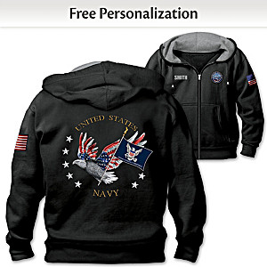 """""""Navy Pride"""" Hoodie Personalized With Embroidered Name"""