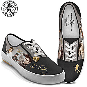 """""""Burning Love"""" Women's Canvas Sneakers With Elvis Portraits"""