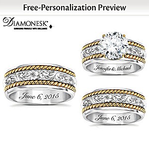 western his hers personalized diamonesk wedding ring set - His And Hers Wedding Rings Sets