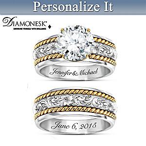 Western Romance Personalized Womens Bridal Ring Set