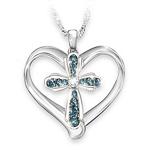 Blessings For My Granddaughter Blue Diamond Pendant Necklace