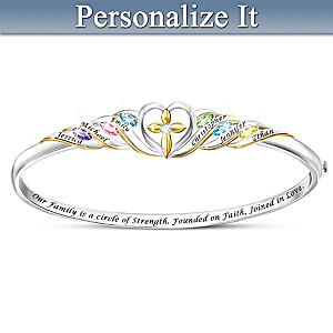 """Family, Faith And Love"" Personalized Birthstone Bracelet"