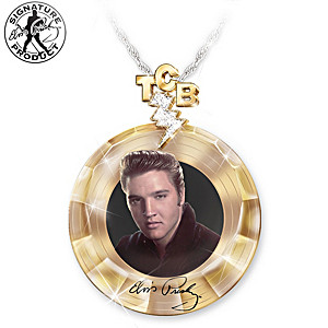 """""""Elvis Gold Record"""" Pendant Necklace With Swarovski Crystals"""