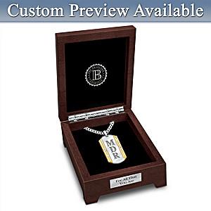 """Beloved Son"" Monogrammed Diamond Pendant With Valet Box"