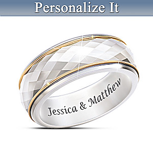 """""""Endless Facets Of Love"""" Personalized Spinning Ring"""