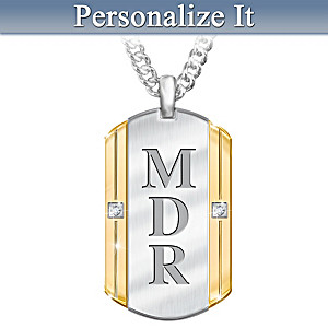 """Beloved Son"" Monogrammed Diamond Pendant Necklace"