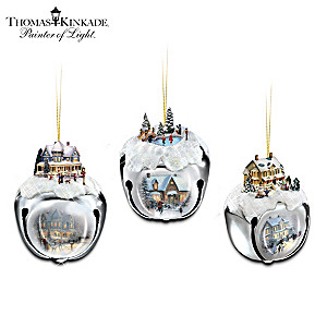 Thomas Kinkade Christmas Art Jingle Sleigh Bell Ornaments