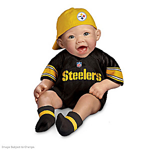 NFL-Licensed Steelers Baby Doll In Team Jersey And Cap