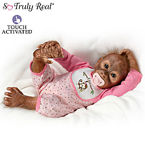 Baby Monkey Doll Squeezes Your Finger