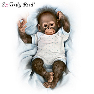 """Baby Zachary"" Poseable Baby Monkey Doll"