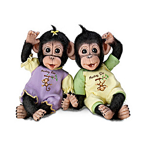 """Monkey See, Monkey Do"" Poseable Baby Monkey Doll Set"