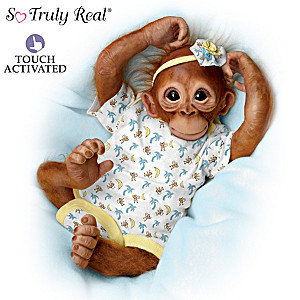 Jane Baffi Precious Zara Monkey Doll Breathes With Heartbeat