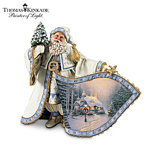 Costumed Santa Figurine With Thomas Kinkade Art