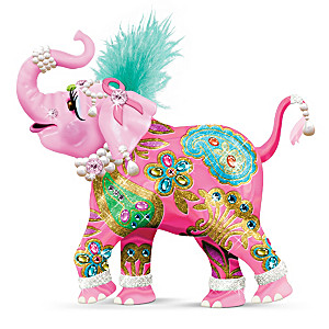 """Reach High For Hope"" Pink Elephant Figurine"