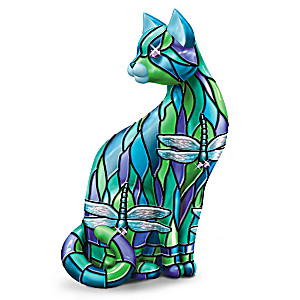"Louis Comfort Tiffany-Style Cat Figurine With ""Gem"" Accent"