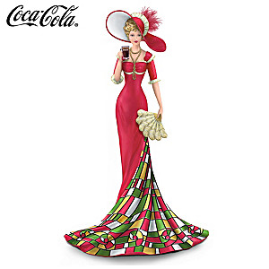 COCA-COLA Lady Figurine With Tiffany Glass Inspired Skirt