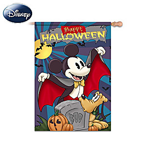 Retro Mickey Mouse And Pluto Halloween Flag