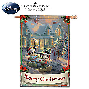 Mickey & Minnie Merry Christmas Flag With Thomas Kinkade Art