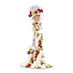 Bone China Pattern-Inspired Elegant Lady Figurine