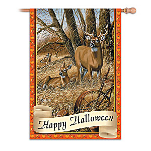 White-Tailed Deer Halloween Flag With Rosemary Millette Art