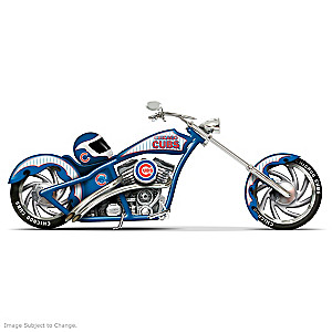 Chicago Cubs Home Run Racer Motorcycle And Helmet Figurine