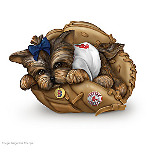 "Boston Red Sox ""Fur-ever A Fan"" Yorkie Figurine"